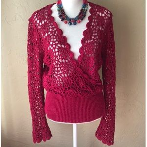 Sundance Crochet Red Open Sweater Size L